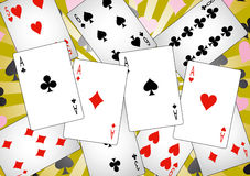 Poker cards. Four aces and some cards for play poker Stock Images