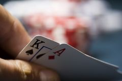 Poker Cards. A texas holdem poker hand Stock Photo
