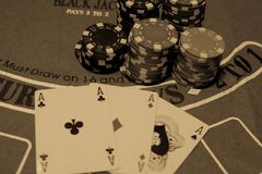Poker cards in monoctome stock photos