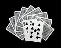 Poker cards on black background Stock Images