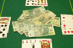 Poker cards and cash Royalty Free Stock Photography