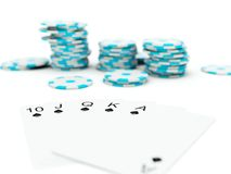 Poker cards with chips Royalty Free Stock Image