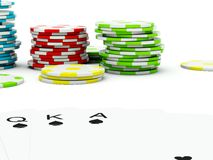 Poker cards with chips Stock Image