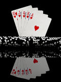 Poker cards and chips. Ten to ace Royalty Free Stock Photo