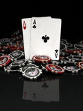 Poker cards and chips. Poker chips and cards (two aces Stock Images