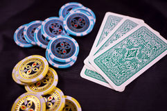 Poker cards and chips Royalty Free Stock Image