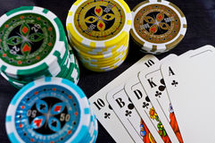 Poker cards and chips Stock Photo