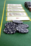 Poker Cards and chips. Shot taken of poker cards and chips during a match Royalty Free Stock Photography