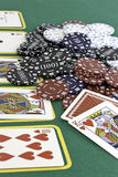 Poker Cards and chips. Shot taken of poker cards and chips during a match Royalty Free Stock Photos