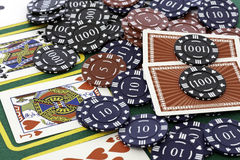 Poker Cards and chips. Shot taken of poker cards and chips during a match Royalty Free Stock Images