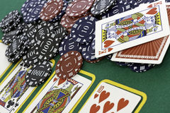 Poker Cards and chips. Shot taken of poker cards and chips during a match Stock Photo