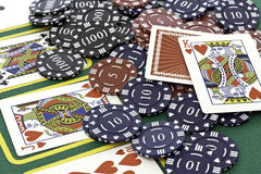 Poker Cards and chips. Shot taken of poker cards and chips during a match Stock Images