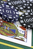 Poker Cards and chips. Shot taken of poker cards and chips during a match Stock Photos