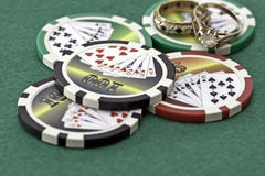 Poker Cards and chips. Shot taken of poker cards and chips during a match Royalty Free Stock Image