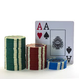 The poker cards with chips. The poker two cards and chips, white background Stock Photo
