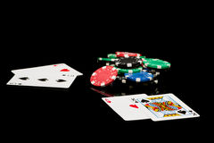 Poker cards with chips Royalty Free Stock Images