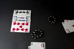 Poker cards and chips on black background. River, blinds with two hands on the table, heads up. Flat lay, top view. stock image