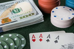 Poker Cards, Chips and Cash Stock Photo