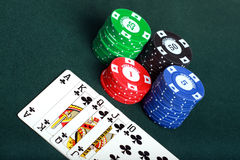 Poker cards and chips closeup Stock Images