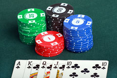 Poker cards and chips closeup Stock Photo