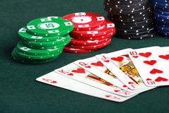 Poker cards and chips closeup Royalty Free Stock Image