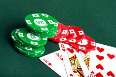 Poker cards and chips closeup Royalty Free Stock Images