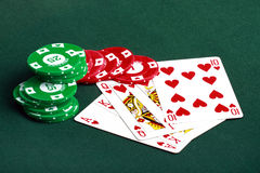Poker cards and chips closeup Royalty Free Stock Photography