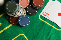 Poker cards and chips concept. Royalty Free Stock Image