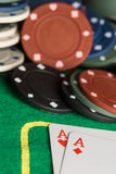 Poker cards and chips concept. Royalty Free Stock Images