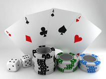 Poker cards with chips and dice 3D. In white stock illustration