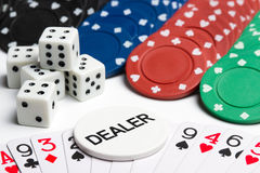 Poker cards, chips and dices Royalty Free Stock Image