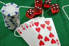 Poker Cards, Chips and Dices Royalty Free Stock Photo
