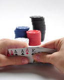 Poker cards, chips, four aces Royalty Free Stock Photography