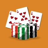 Poker cards and chips gamble fortune. Vector illustration Stock Photo