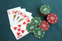 Poker cards and chips. Poker game. Stock Image