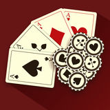 Poker Cards and Chips, Grunge Background Stock Photos