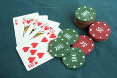 Poker cards and chips. Poker game. Royalty Free Stock Photo