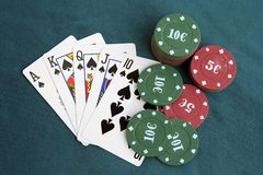 Poker cards and chips. Poker game. Stock Images
