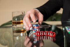 Poker cards and chips on the table Stock Photography