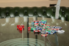 Poker cards and chips on the table Royalty Free Stock Images