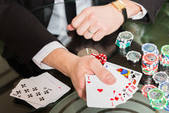Poker cards and chips on the table Royalty Free Stock Image