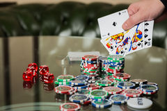 Poker cards and chips on the table Royalty Free Stock Photo