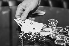 Poker cards and chips on the table Royalty Free Stock Photography