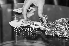 Poker cards and chips on the table Stock Photo