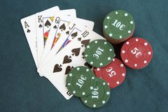 Poker cards and chips. Poker game. Royalty Free Stock Photos