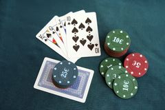 Poker cards and chips. Poker game. Royalty Free Stock Image