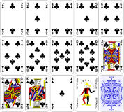 Poker cards club set four color classic design  Royalty Free Stock Image