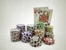 Poker cards with colored chips Royalty Free Stock Photos