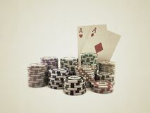 Poker cards with colored chips Royalty Free Stock Photo