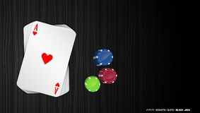 Poker cards with colorful chips on a dark background stock illustration
